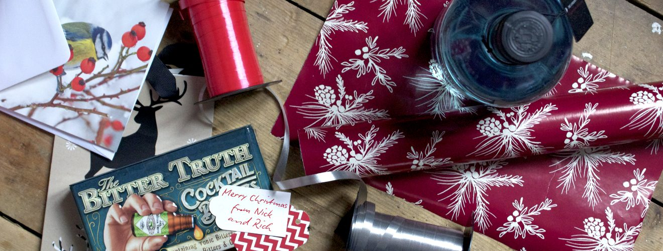 wrapping paper gin bottle gift guide