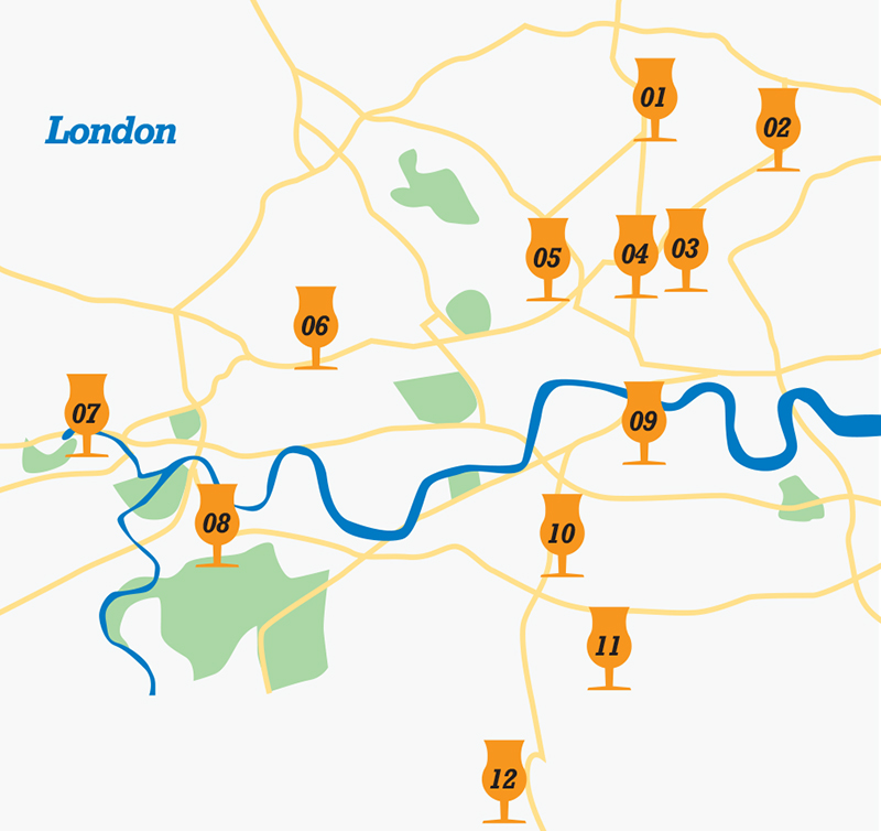 Map of London craft brewers