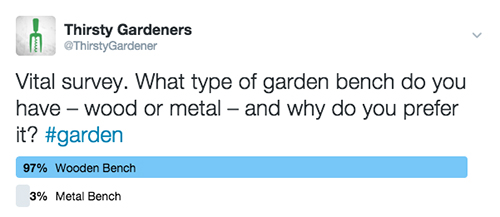 twitter gardeners survery benches