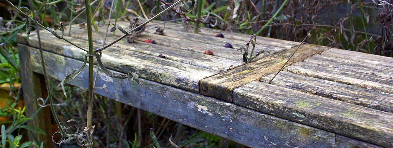 dirty garden bench