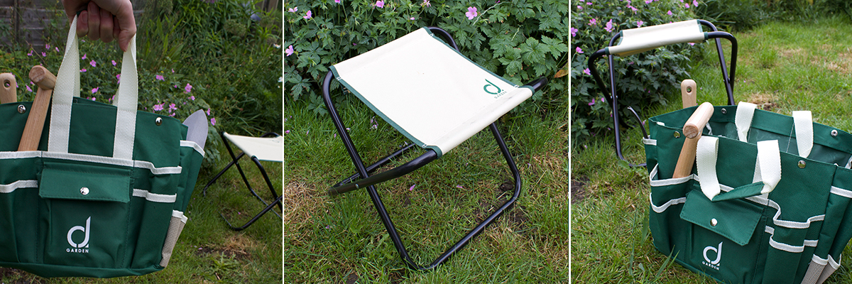 camping stool with garden tools five
