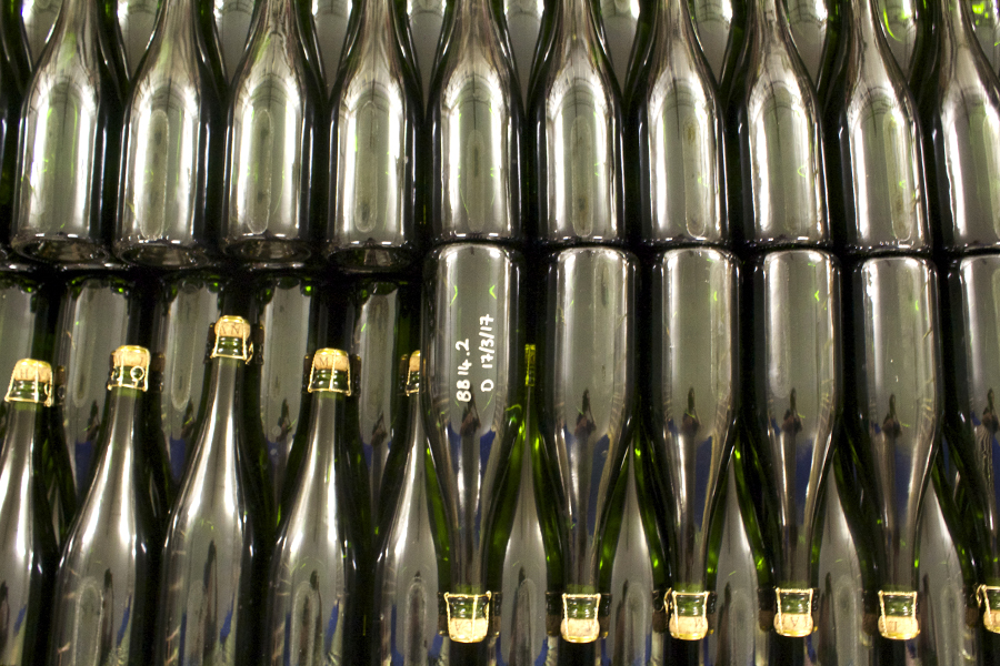 sparkling wine bottles at langham estate