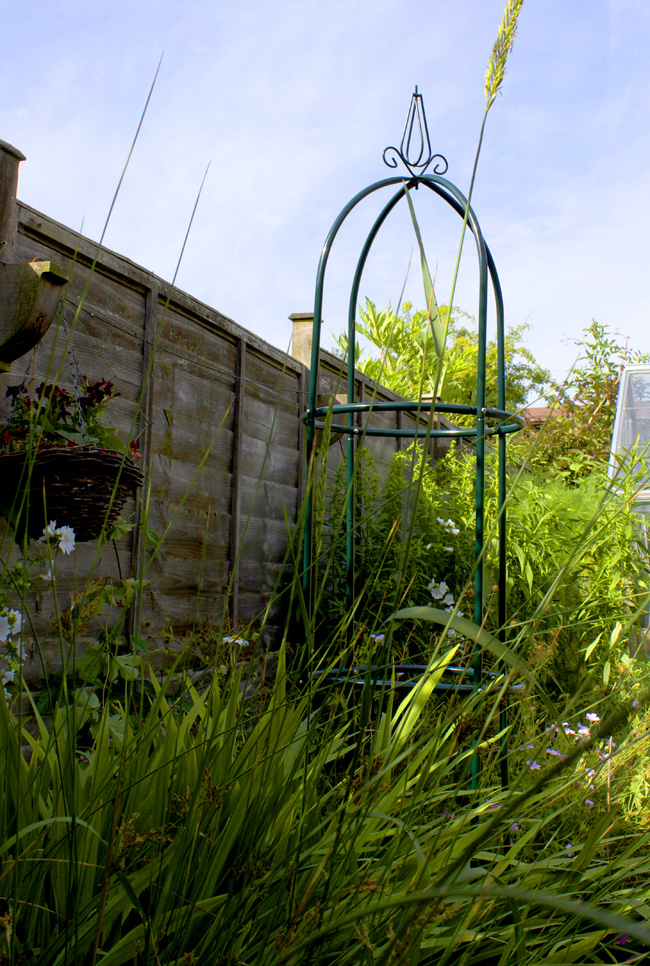 tall green metal trellis