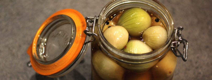 A jar of pickled onions
