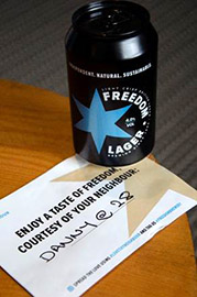 Freedom lager neighbour gift